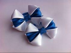 Украшение на резинку Канзаши / Бело-синие бантики - YouTube