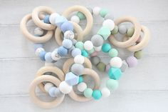 Baby teething toy  bracelet / Baby teething toy with wooden