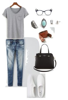 """""""Cute"""" by tanishayarde on Polyvore featuring American Eagle Outfitters, Kate Spade and Oliver Peoples"""
