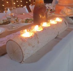 Holidays and Events: Birch Log Votive Light Candle Holder Wedding Home ...
