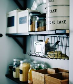 Kitchen storage idea: Add a small bathroom basket to shelves for stashing smaller tools | #IKEAIDEAS from @ichliebedeko and @ikeafamilymag