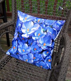 Pretty Blue and Purple Flowers Pillow Cover 16x16 by BettyinParis, $20.00