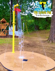 Fun little residential splash pad for an owner of a McDonald's in Mississippi. They wanted their colors on their Bucket Dump to match the McDonalds yellow and red for their backyard splash pad.