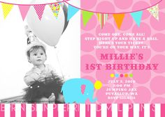 Shop for on Etsy, the place to express your creativity through the buying and selling of handmade and vintage goods. Free Printable Invitations, Printables, Pink Parties, Birthday Parties, Carnival Girl, Puyallup Wa, Big Top, First They Came, Birthday Invitations