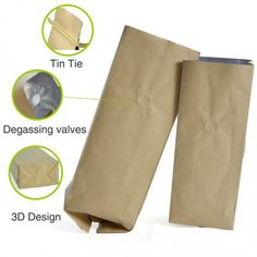 Brown Kraft Paper with Aluminium Foil Lamination Stand-up Pouch/Bag with One-way Degassing Valve and Tin-Tie