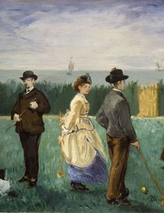 Édouard Manet, French (1832-1883). The Croquet Party, 1871 (detail). Oil on canvas, 18 x 28 ¾ inches. Promised gift of Marion and Henry Bloch. Photo: Strauss Peyton.