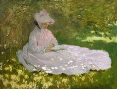Springtime by Claude #Monet, oil on canvas 1872, Fine #Art #Poster #Prints . #impressionism #painting #reproductions #posters #print #fineart #impressionist