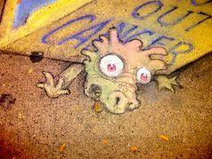Renewing chalk art with a message, on Main Street, Ann Arbor, Michigan  Twitter hashtags, #MottChildren  Mott Children's Hospital at the University of Michigan Health System  David Zinn, Artist His website: www.zinnart.com/ Photo 1, Table 1: Tomukun  David Zinn - more streetart? Check www.Streetart.nl
