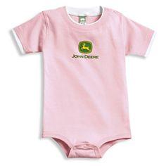 Holy smokes this is cute!  John Deere Pink Short Sleeved Onesie