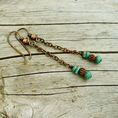 Turquoise Chain Dangles with antiqued copper and earthy bone beads earrings