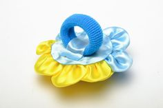 Handmade kanzashi ribbon hair tie by YourHairStyle on Etsy
