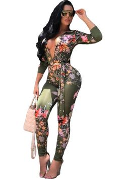 2017 Summer Women Sexy Club Wear Bodycon Jumpsuit Deep V-Neck Long Sleeve Flower Floral Skinny Party Long Rompers With Sashes QM Sexy Outfits, Casual Day Outfits, Sexy Dresses, Summer Outfits, Fashion Dresses, Women's Fashion, Fashion Tips, Bodycon Jumpsuit, Floral Jumpsuit