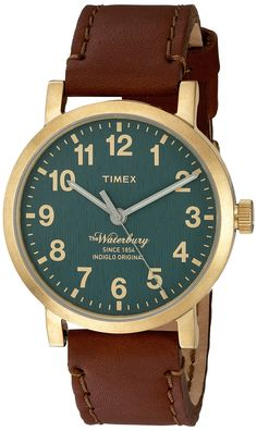 8a31fd50f5 Timex Mens The Waterbury Quartz Stainless Steel and Leather Dress Watch  Color: Brown Model: