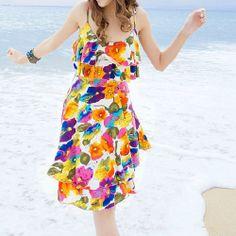 Bohemia Floral Print Flounce Beach Spaghetti Strap Slip Dress