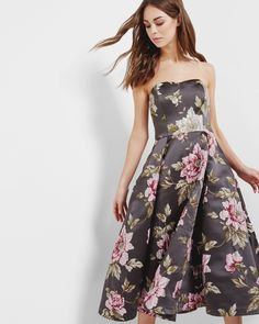 Floral jacquard full midi dress - Gunmetal   Dresses   Ted Baker