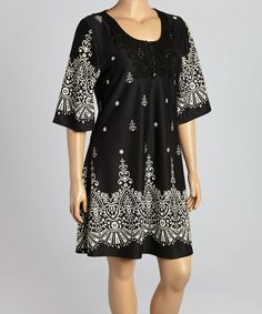 Black & White Geometric Scoop Neck Dress - Plus