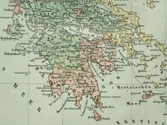 1894 Antique map of ANCIENT GREECE. 119 years by AntiquePrintsOnly, $15.95