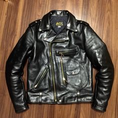 #Buco J-24L #LeatherJacket. This jacket comes with belt loops so perfect for a wide belt and #SamBrowne attachment. Make sure you get gear with brass metal to match the jacket!