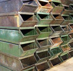 Stackable Steel Storage Bins | Industrial Metal Stacking Bins / Industrial  Decor / Prop / Storage