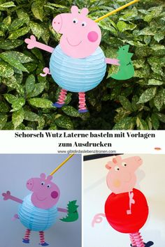 Linterna Tinker Schorsch Wutz con plantillas para imprimir - El año pasado, mi bricolaje para la linterna Peppa Wutz fue tan exitoso y seguí recibiendo solici - Diy Crafts To Sell, Home Crafts, Handmade Crafts, Haloween Craft, How To Make Lanterns, Peppa Pig, Diy For Kids, Diy Projects, Things To Sell