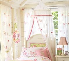 Pottery Barn Kids New Bird And Flower Applique Canopy White With Pink 4 Girls