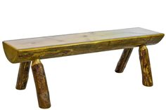 The Montana half log bench is made from pine logs. This log bench will look beautiful in your home, lodge, log cabin, or country cottage. Visit us online or call for more log furniture. Patio Bench, Dining Bench, Log Benches, Cedar Bench, Garden Benches, Diy Bench, Kitchen Dining, Rustic Bench, Rustic Decor