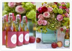 Gorgeous table set-up. Love the bottles!