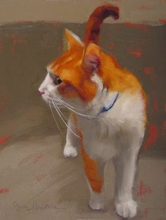 """""""Tangy"""" small painting of an orange cat by Diane Hoeptner, sold."""