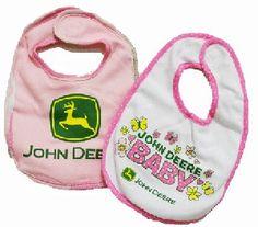 John Deere 2 Piece Pink Baby Bib Set