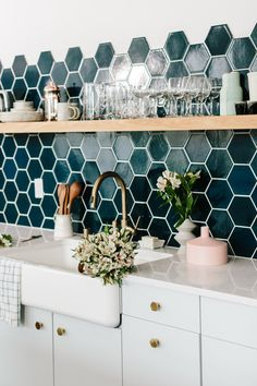 Gorgeous dark sea green hexagon glass tile backsplash in kitchen #interior #kitchen