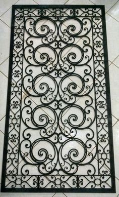 Rug as a stencil Wrought Iron Stairs, Wrought Iron Decor, Iron Windows, Iron Doors, Window Grill Design, Door Design, Window Bars, Iron Gate Design, Iron Furniture
