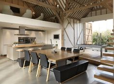 eco barn conversion in Vale of the White Horse - bulthaup kitchen - David Lucas - - eco barn conversion in Vale of the White Horse – bulthaup kitchen eco barn conversion in Vale of the White Horse – bulthaup kitchen Barn Kitchen, Rustic Kitchen, Kitchen White, Dining Room Sets, Dining Room Furniture, Black Furniture, Furniture Ideas, Bulthaup Kitchen, Kitchen Table Chairs