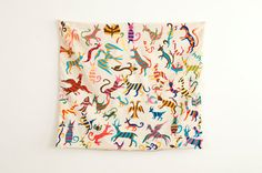 RESERVED. . . Vintage Hand Made Embroidered Mythological Animal Pillowcase Wall Hanging - Mid Century