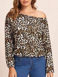 blouse for women Leopard Leopard Print Bateau Neck Casual Long Sleeves Polyester Tops Fashion Decor, Fashion Outfits, Brown Fashion, Fashion Colours, Trendy Tops, Streetwear Fashion, Crop Tops, Women's Tops, Sleeve Styles