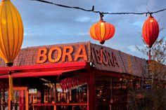 De lampionnen bij Bora Bora feestverlichting.