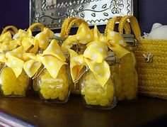 Yellow Jelly Bean party favors for bee party.