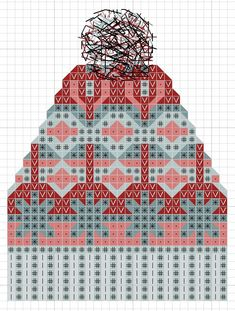 hancock's house of happy: Free Cross Stitch Chart: Fair Isle Knit Toque - knitting Knitted Mittens Pattern, Fair Isle Knitting Patterns, Knitting Charts, Loom Knitting, Knitting Stitches, Knitted Hats, Pull Jacquard, Fair Isle Chart, Bonnet Crochet