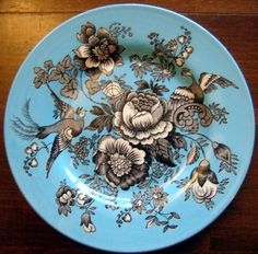 Black White on Blue Exotic Birds Paris Chinoiserie Victorian Plate & Large Shiny Gold on Teal Green Bird Leaves Exotic Flower Plate ...