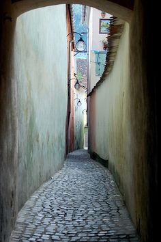 Strada Sforii in Brasov city. Brasov Romania, Between Two Worlds, Best Memories, Cool Places To Visit, Croatia, Cities, Street View, Scene, Colours