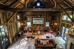 This renovated barn from Kelly Mittleman is the perfect spot for a band to play without disturbing anyone around. It features a stage for the band, guest sleeping area, and a well-stocked wet bar. And professional soundproofing keeps the neighbors happy.