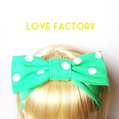 Happy Lovely polka dot green apple Kids Bow Head Band :) Love Factory By Rie Miyamoto on Etsy, $15.00