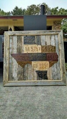 Rustic license plates in the shape of Texas