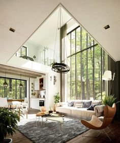 great room with floor to ceiling windows, modern rustic house in the forest, mod… Tolles Zimmer mit raumhohen Fenstern, modernes rustikales Haus im Wald, modernes Wohnzimmer Interior Design Inspiration, Home Interior Design, Interior Architecture, Room Interior, Interior Painting, Modern Rustic Interiors, Contemporary Interior, Contemporary Architecture, Luxury Interior