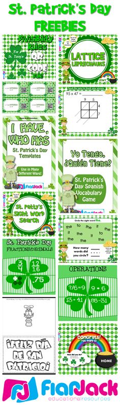 """Happy St. Patty's From FlapJack! Freebies include Shamrock puzzles, QR code task cards, Smart Board games, """"I Have, Who Has,"""" Spanish, etc."""