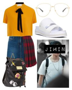 """Jimin Inspired Outfit #5"" by flaviaazevedo2000 ❤ liked on Polyvore featuring GET LOST, Dr. Scholl's, Steve J & Yoni P, Elvi, Betsey Johnson, Gucci, kpop, bts, bias and jimin"