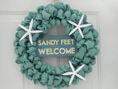 Beach wreath Nautical wreath Starfish wreath by ChloesCraftCloset