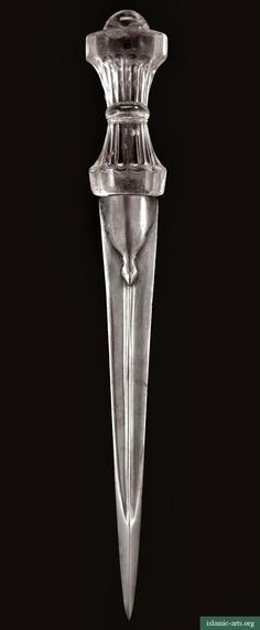 ☆ Rock Crystal Hilted Dagger «India» 17th Century :¦: The straight steel dagger with central ridge embossed at the forte in the form of a palmette, the waisted rock crystal hilt with carved flutes and leaf design carved into the pommel. ☆