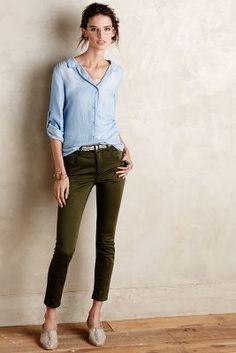 Pilcro Superscript High-Rise Sateen Jeans Rich Olive 27 Denim - anthropologie.com #anthroregistry
