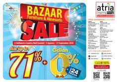 Bzzar Furniture dan Accsesories sale  Discount up to 70% + Cicilan 0% 24 bln. *s&k Segera kunjungi bazzar Atria Furniture di Bellanova Mall 8 Agustus - 12 September 2016 let's come and shop :)