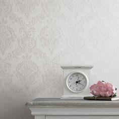 Damask Ivory Shimmer Wallpaper, , large
